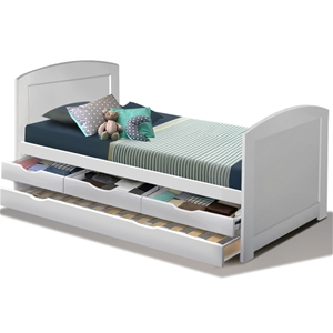 Artiss Single Wooden Timber Trundle Bed