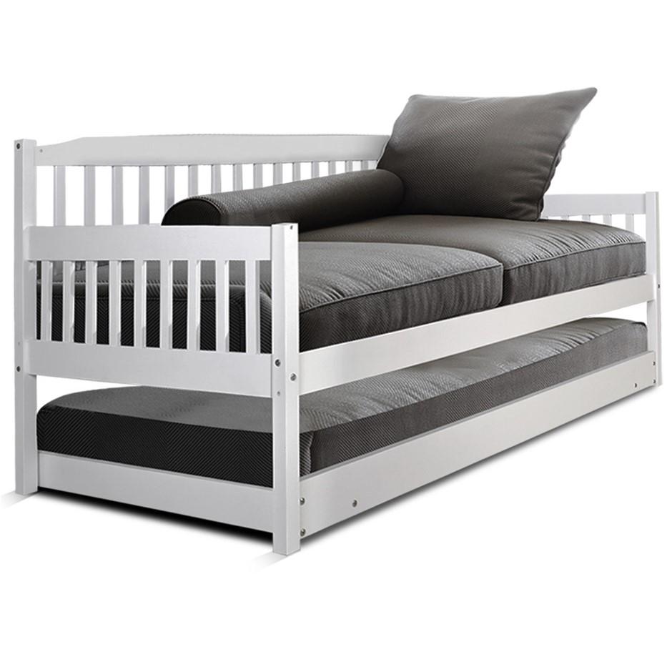 Artiss Single Wooden Timber Sofa Trundle Bed Frame FISHER Mattress Kids