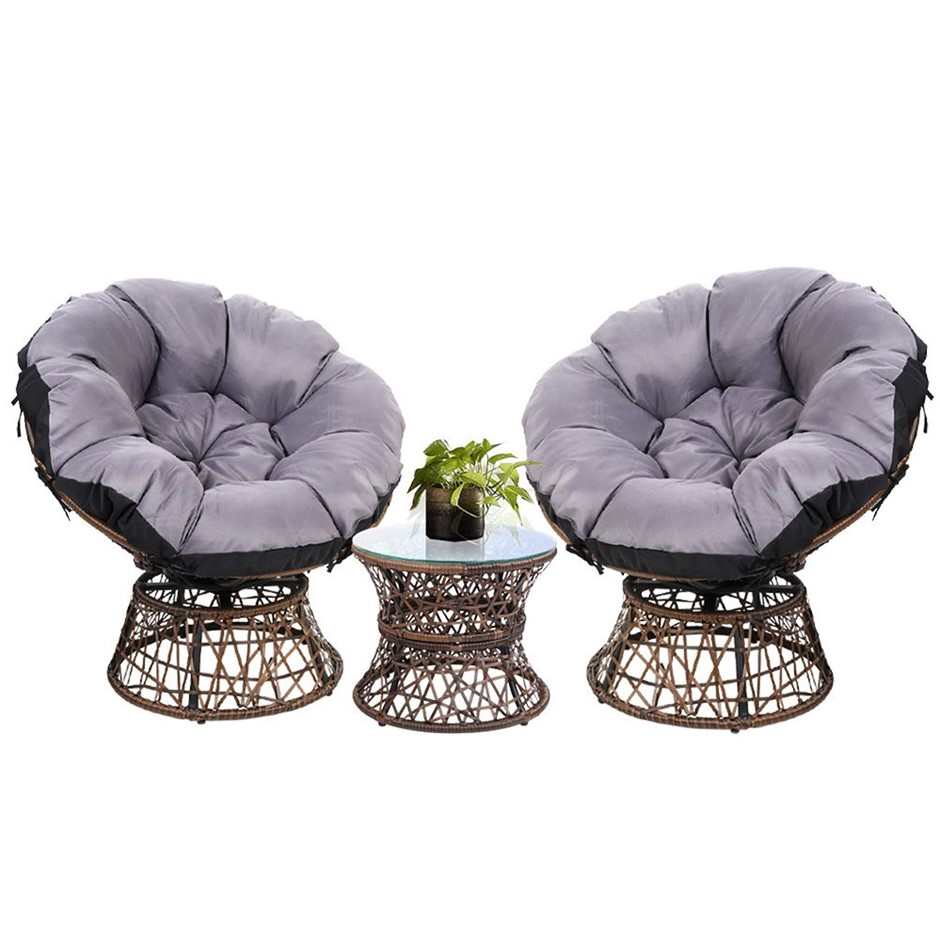 Garden Papasan Chair and Side Table Set- Brown