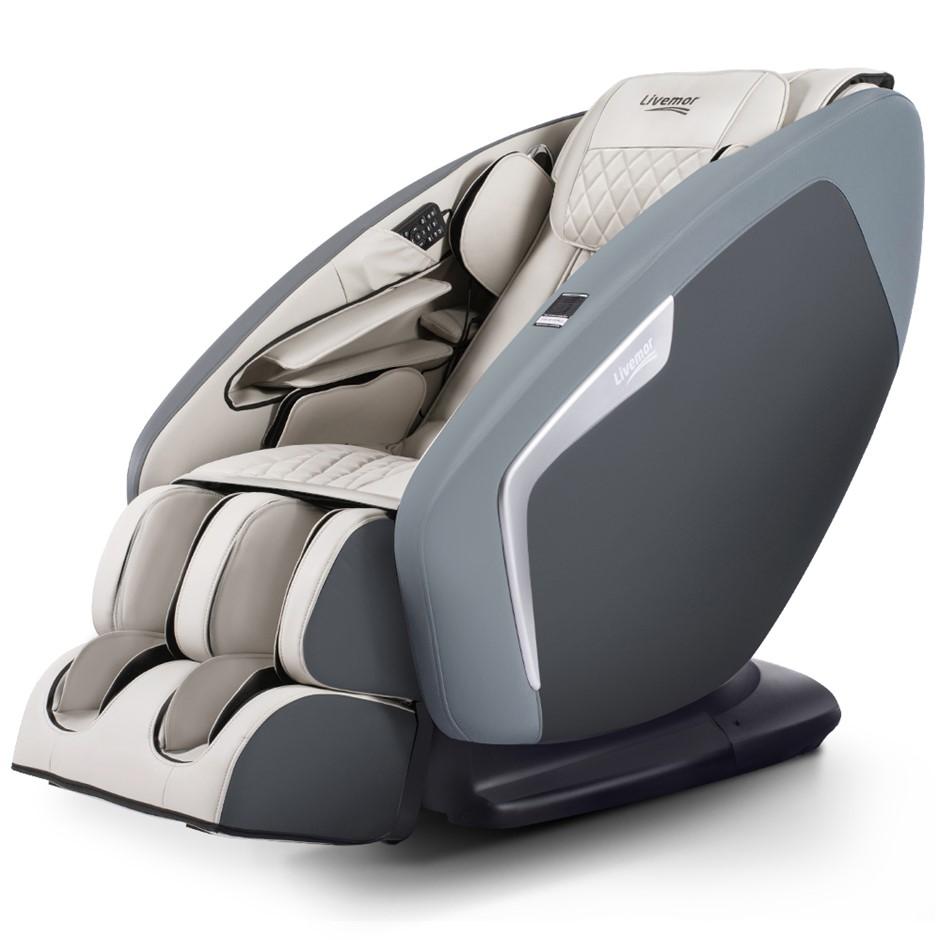 Livemor 4D Electric Massage Chair Shiatsu Full Body 58 Air Bags Navy Grey