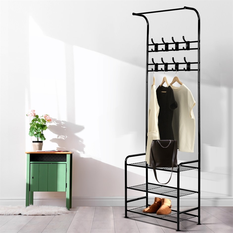 Artiss Clothes Rack Coat Stand Portable Hanger Airer Organiser Metal Black