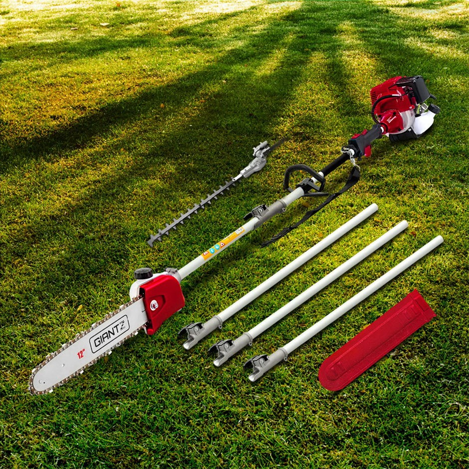 Giantz Pole Chainsaw 4 Stroke Petrol Hedge Trimmer Pruner Chain Saw Long