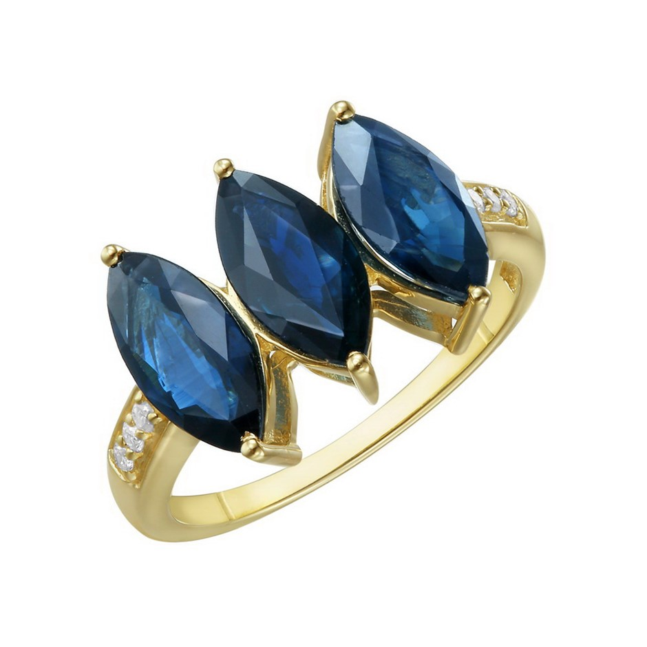 9ct Yellow Gold, 3.11ct Blue Sapphire and Diamond Ring
