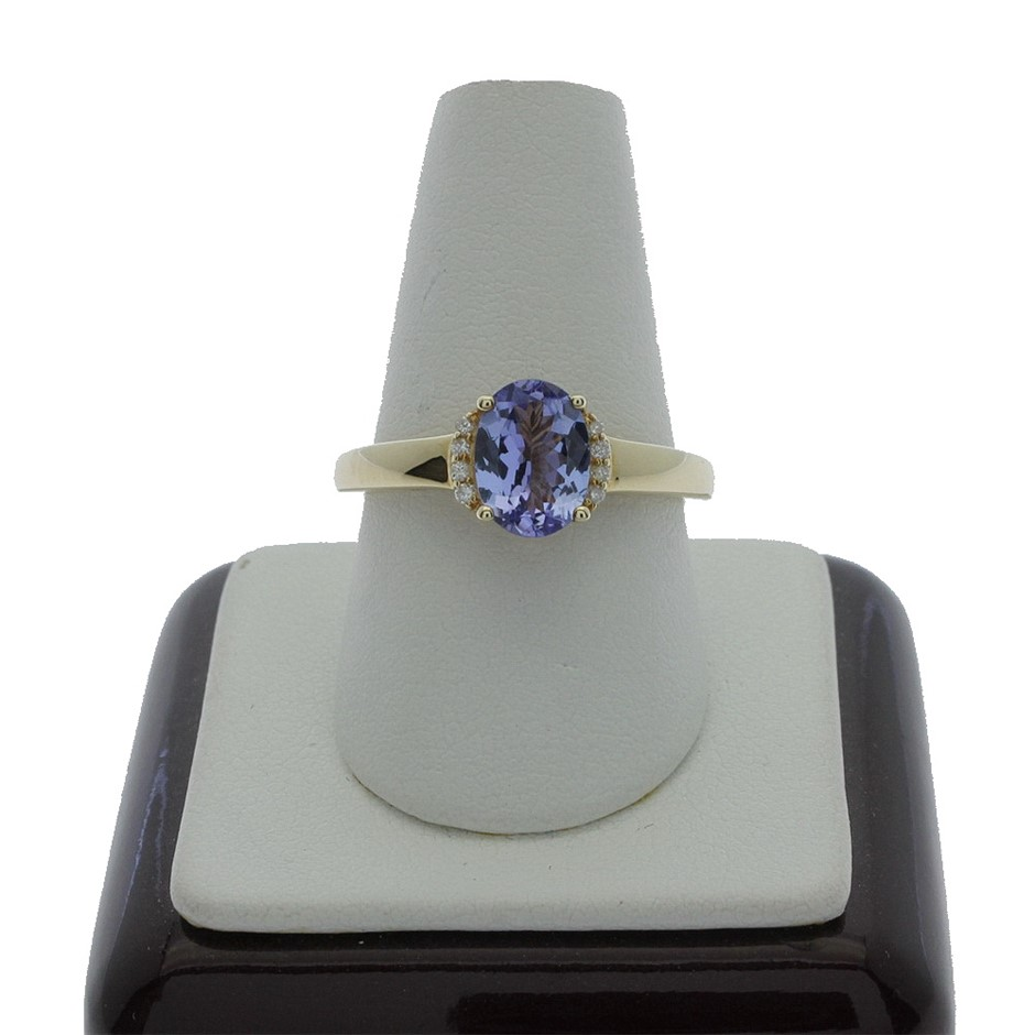 9ct Yellow Gold, 1.18ct Tanzanite and Diamond Ring