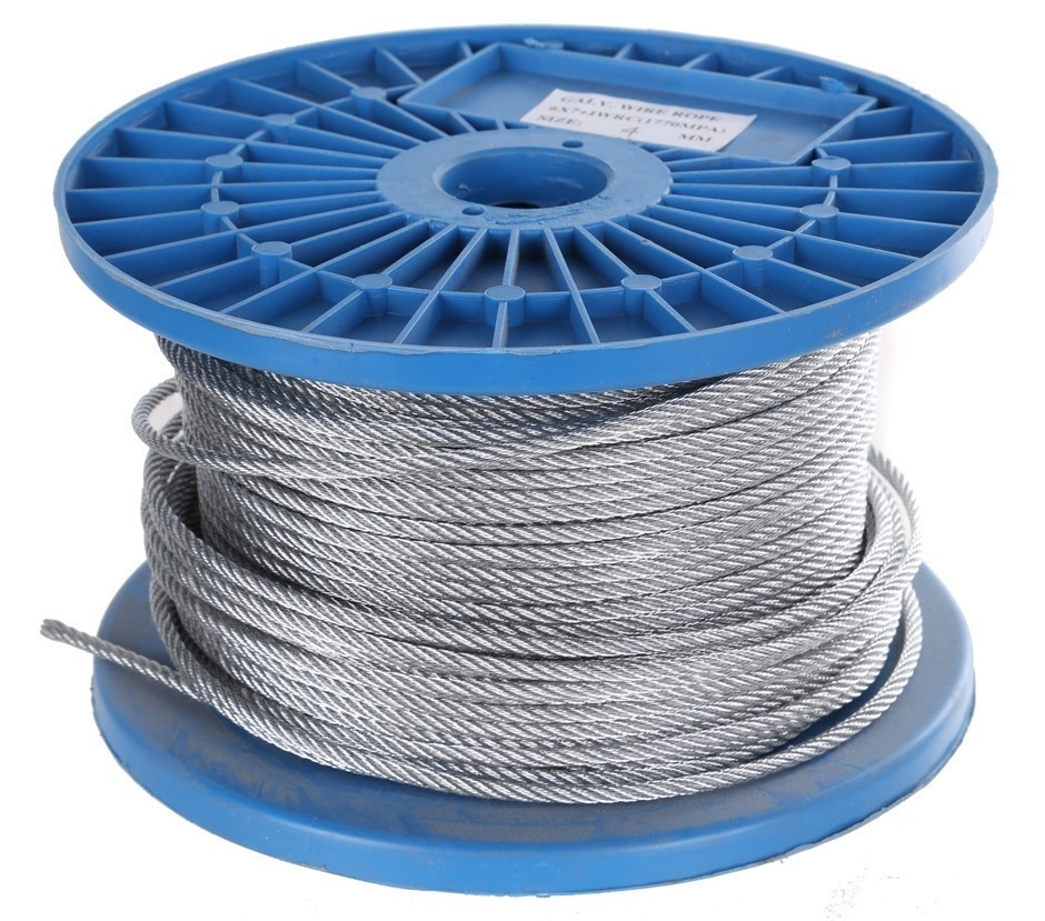 Reel 100M x Galv. Wire Rope 4mm dia., Construction 6x7 FC. Buyers Note - Di