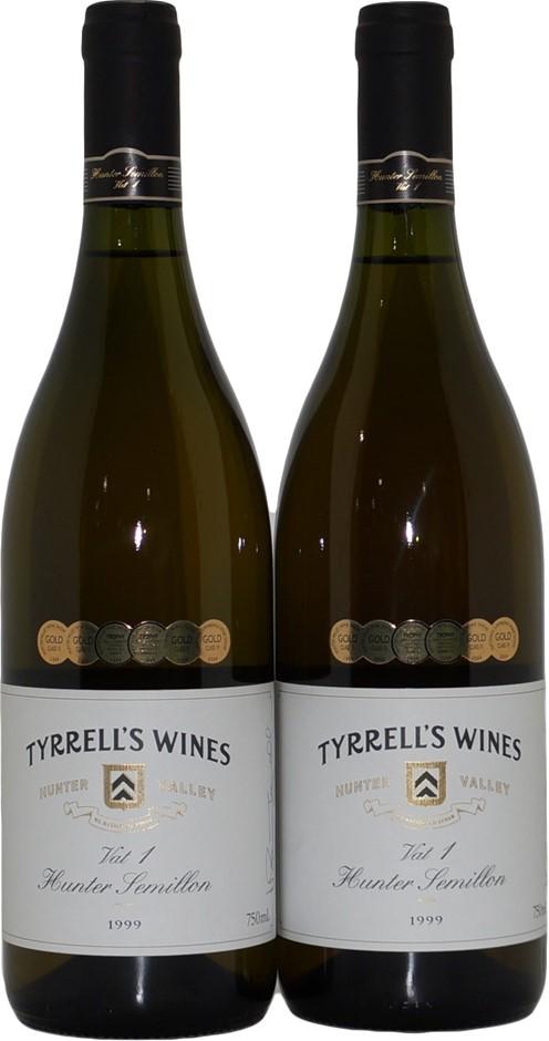 Tyrrell's Wines Vat 1 Hunter Valley Semillon 1999 (2x 750mL), NSW. Cork.