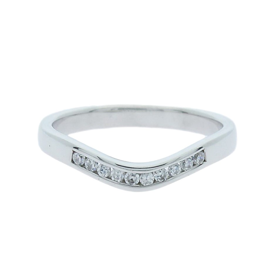 0.12 Carat curved channel set sterling silver band