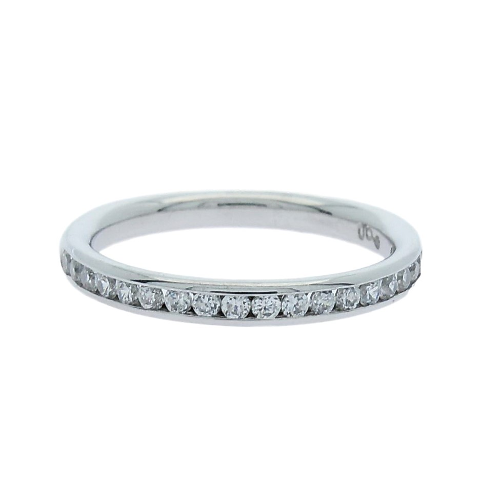 0.35 Carat sterling silver channel set matching band