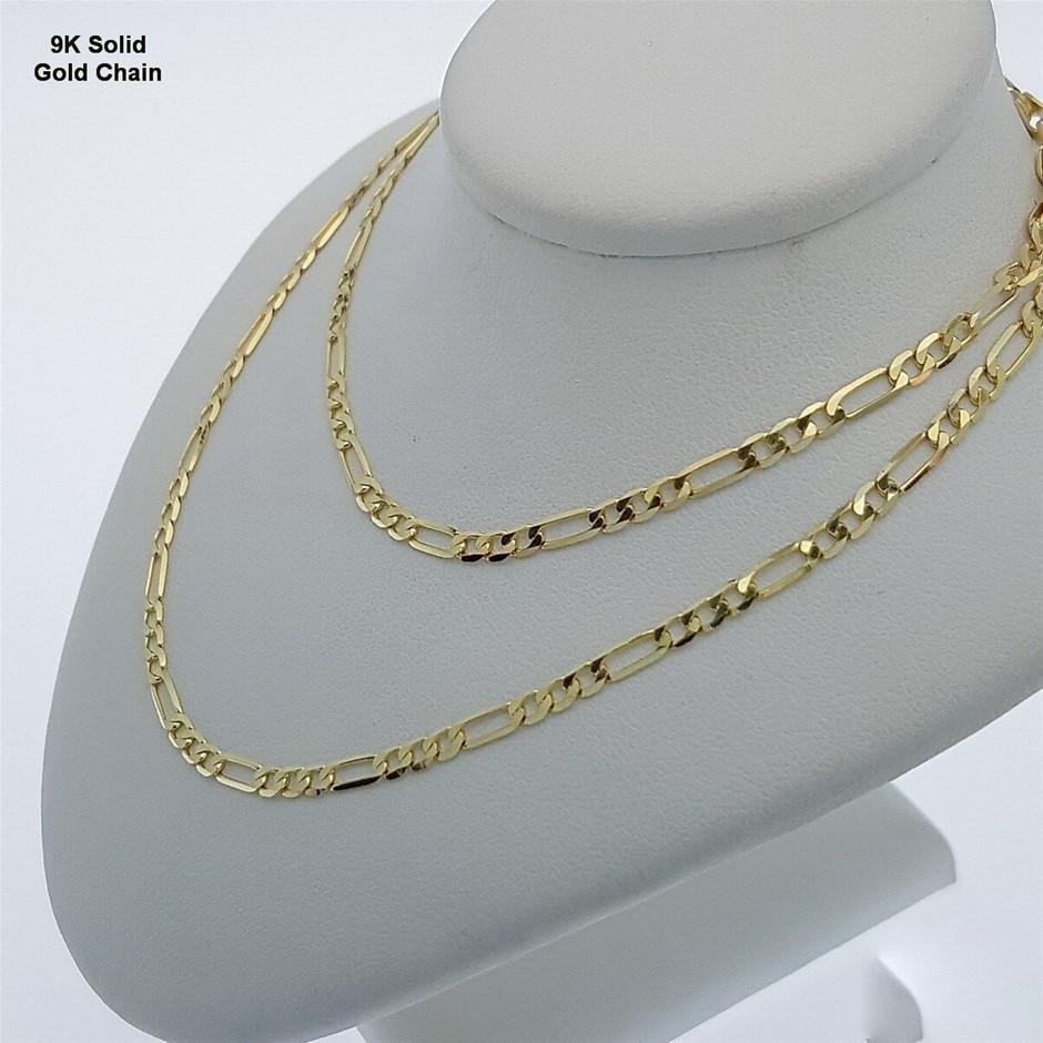 Genuine Italian Solid 9 Karat Yellow Gold 60 cm Figaro chain necklace