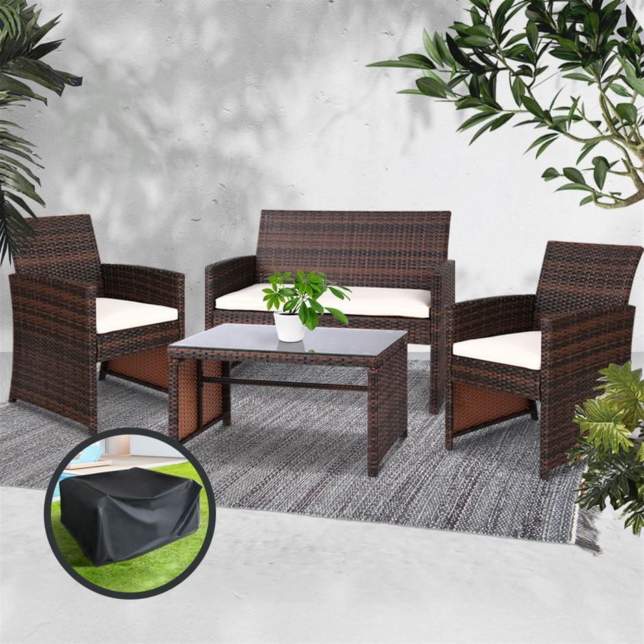 Gardeon Garden Furniture Outdoor Lounge Setting Wicker Sofa Set Cover