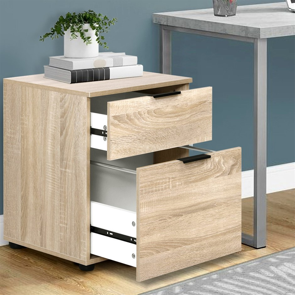 2 Drawer Filing Cabinet Office Shelves Storage Drawers Cupboard Wood