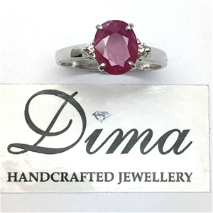 18ct White Gold, 2.16ct Ruby and Diamond