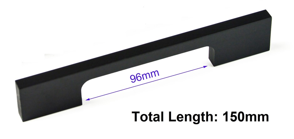 5 x 96mm Kitchen Handle Cabinet Cupboard Door Drawer Handles square Black