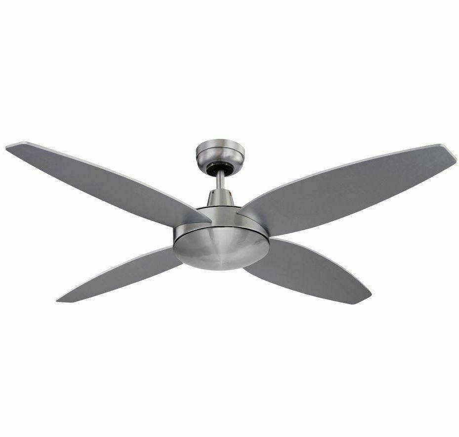 Heller 1300mm Reversible 4 Blade Ceiling Fan 3 Speed Silver Black EBONY