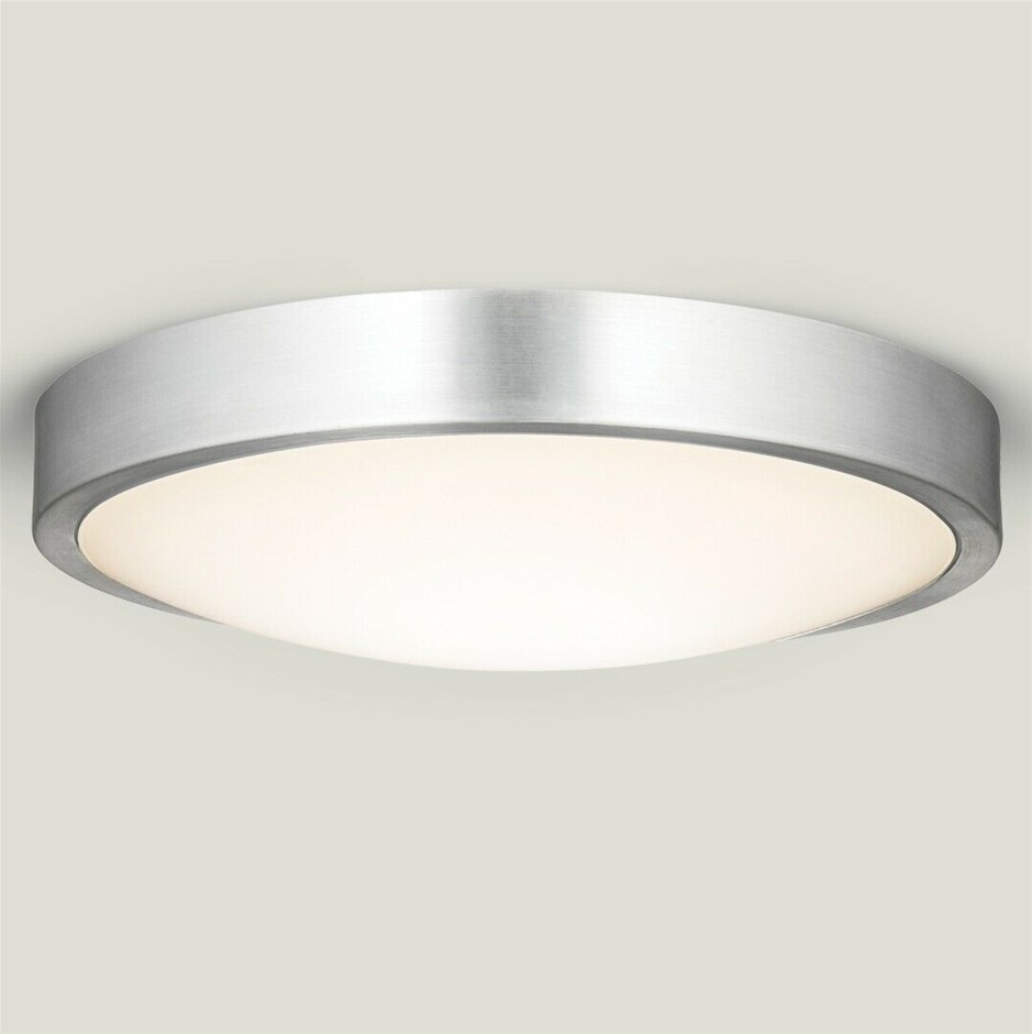 Qty 2 x HPM Aura 18W LED Dimmable Ceiling Oyster Light, 4000K Silver finish