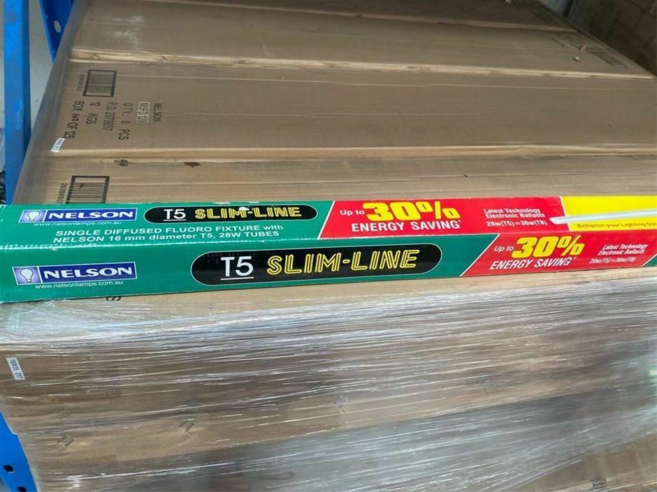 Qty 3 x Nelson T5 120cm Slimline Light Fitting Diffused Batten Fixture