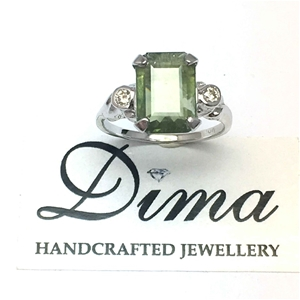 18ct White Gold, 3.00ct Green Sapphire a