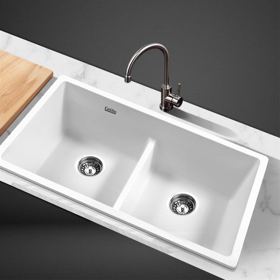Cefito Kitchen Sink Granite Stone Laundry Top/Undermount Double 790x460mm