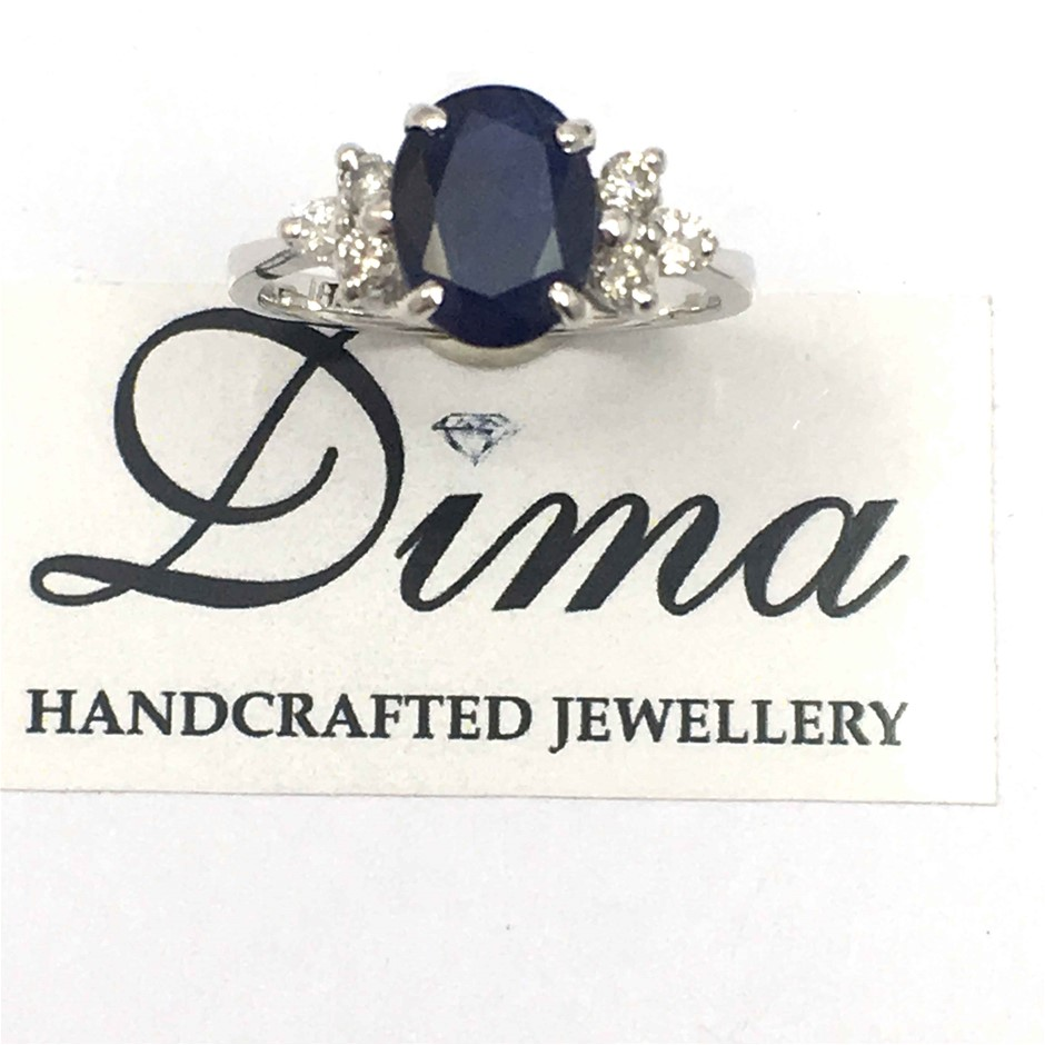 18ct White Gold, 2.53ct Blue Sapphire and Diamond Ring