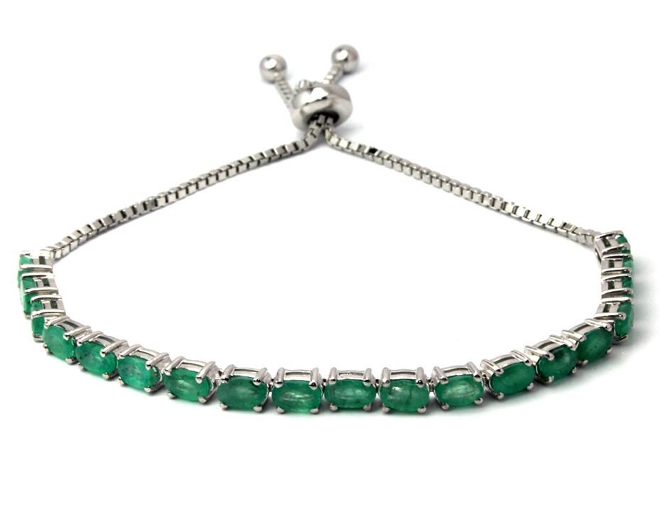 Stunning sterling silver adjustable emerald bracelet