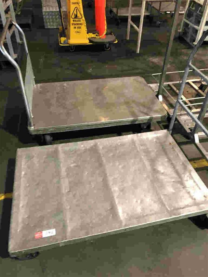 Qty 2x Stainless Steel Heavy Duty Trolleys