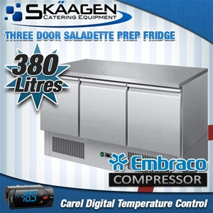 Unused Three Door Saladette Fridge - ES0