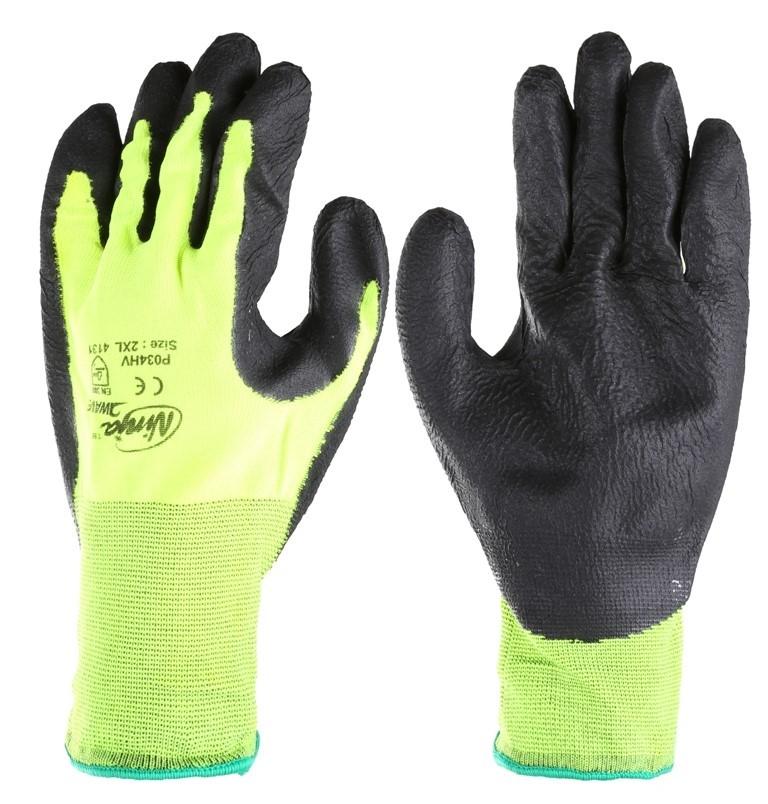 12 Pairs x NINJA Hi-Vis Nylon Spandex Gloves with Super Grip Palm Coating,
