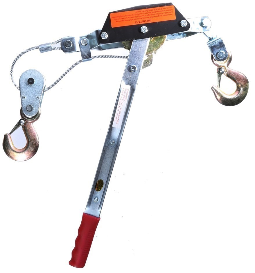 2 Tonne Hand Winch Puller, Single Gear, 2 Safety Hooks, 4.5mm Dia Cable. Bu