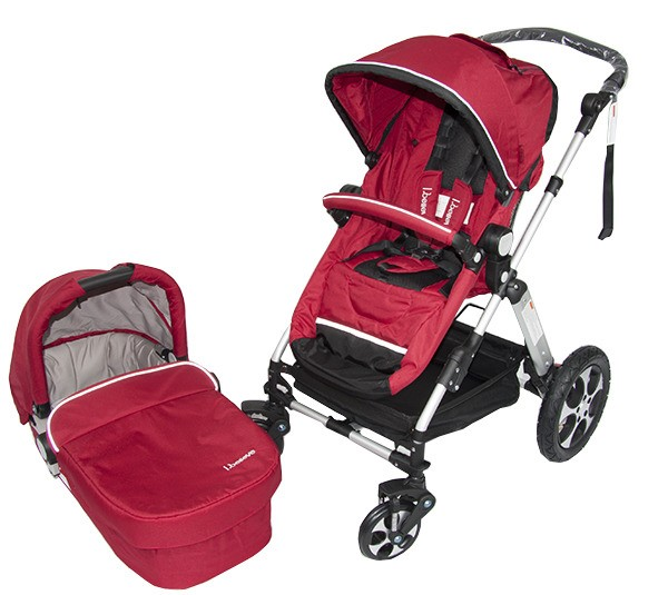 i.Believe Aluminium 2in1 Baby Pram Stroller with Seat and Bassinet - RED