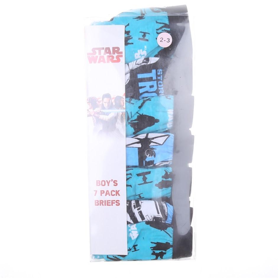 6 x STAR WARS Boy`s 7pk Briefs, Size 2-3, Cotton/ Polyester, Theme Print. B