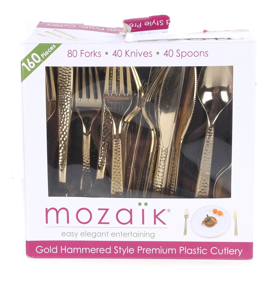 MOZAIK 160pc Knife, Fork & Spoon Set of Premium Plastic Cutlery. (SN:CC1716