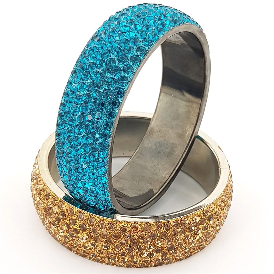 Two Crystal Bangles. Dark Aqua & Gold.