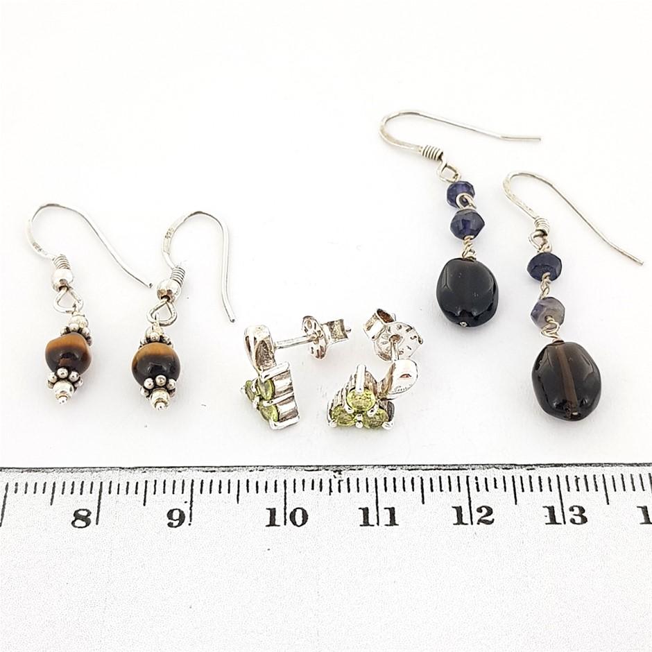 Three Pairs Silver Gemstone Earrings.