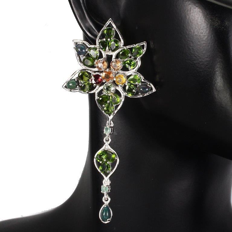 Deluxe Genuine Opal Emerald & sapphire Drop Earrings.