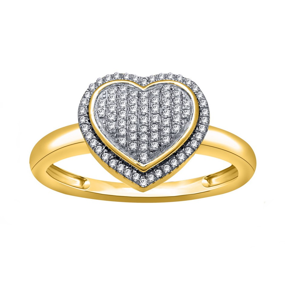 9ct Yellow Gold, 0.13ct Diamond Ring