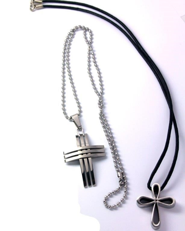 Stainless steel cross necklaces, bracelet