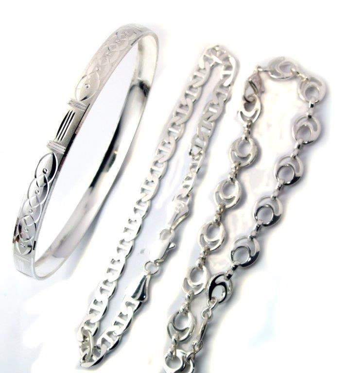 Silver plated set of 2 bracelets, 1 bangle