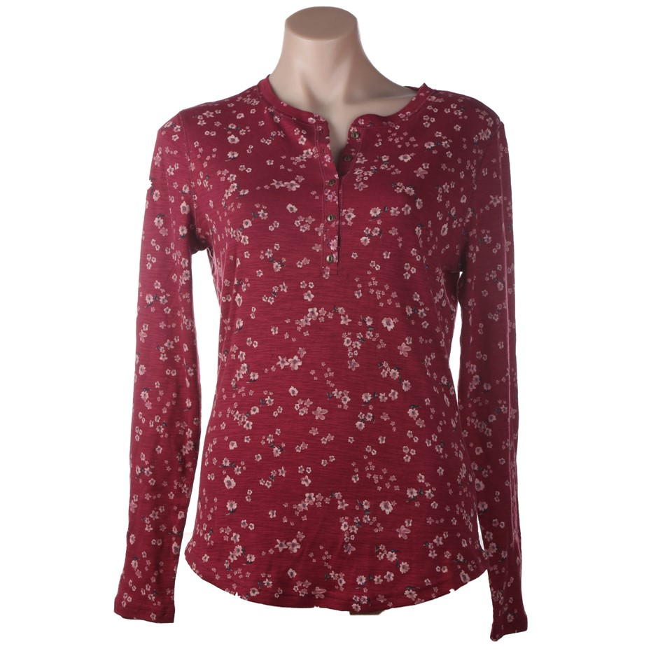 SEG`MENTS Women`s Long-Sleeve Printed Long-Sleeve Top, Size M, 100% Cotton,