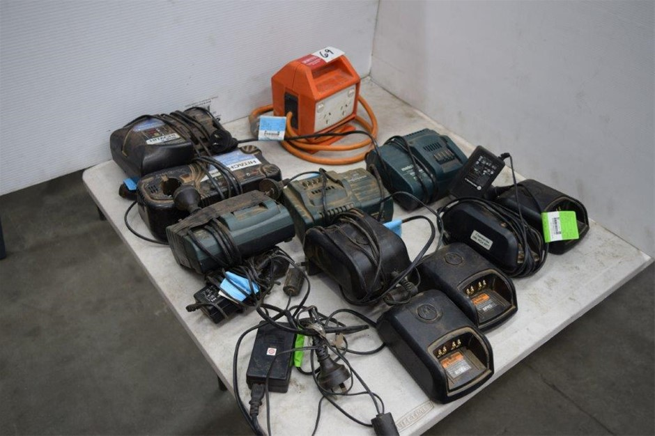 Lot of 10 Assorted Power Tool and 2 Way Radio Battery Chargers