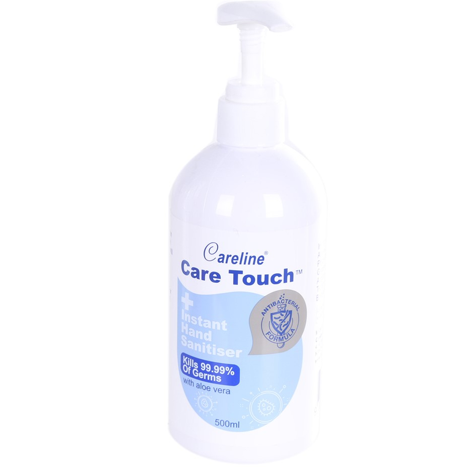 2 x CARELINE CARE TOUCH Instant Hand Sanitiser, 500ml. N.B. Unlocked Nozzle