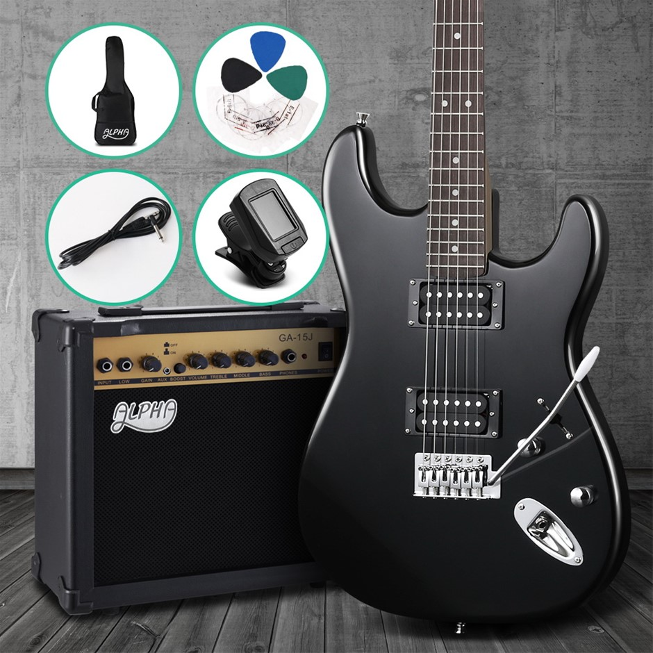 Alpha Electric Guitar And AMP Music String Instrument Rock Black Carry Bag
