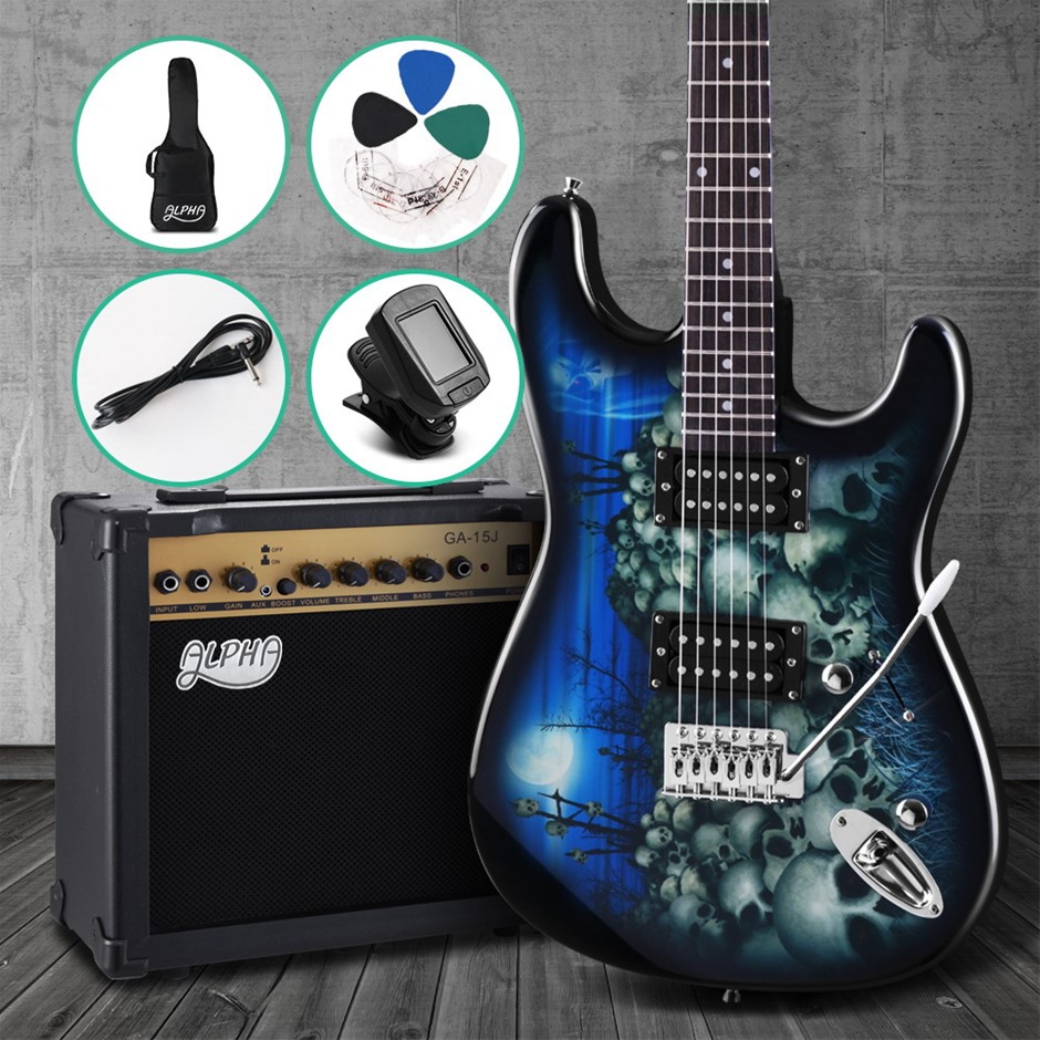 Alpha Electric Guitar And AMP Music String Instrument Rock Blue Carry Bag