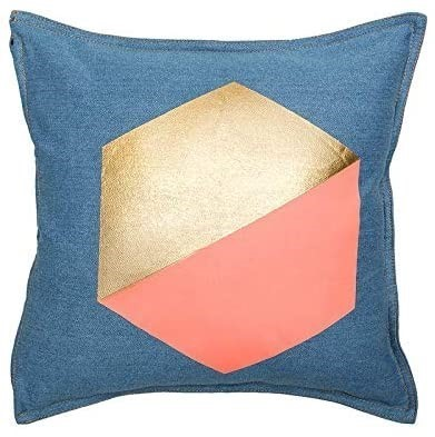 BAMBURY Gem Square Cushion, Peach. 100% Cotton. 43 x43 cm. Buyers Note - Di