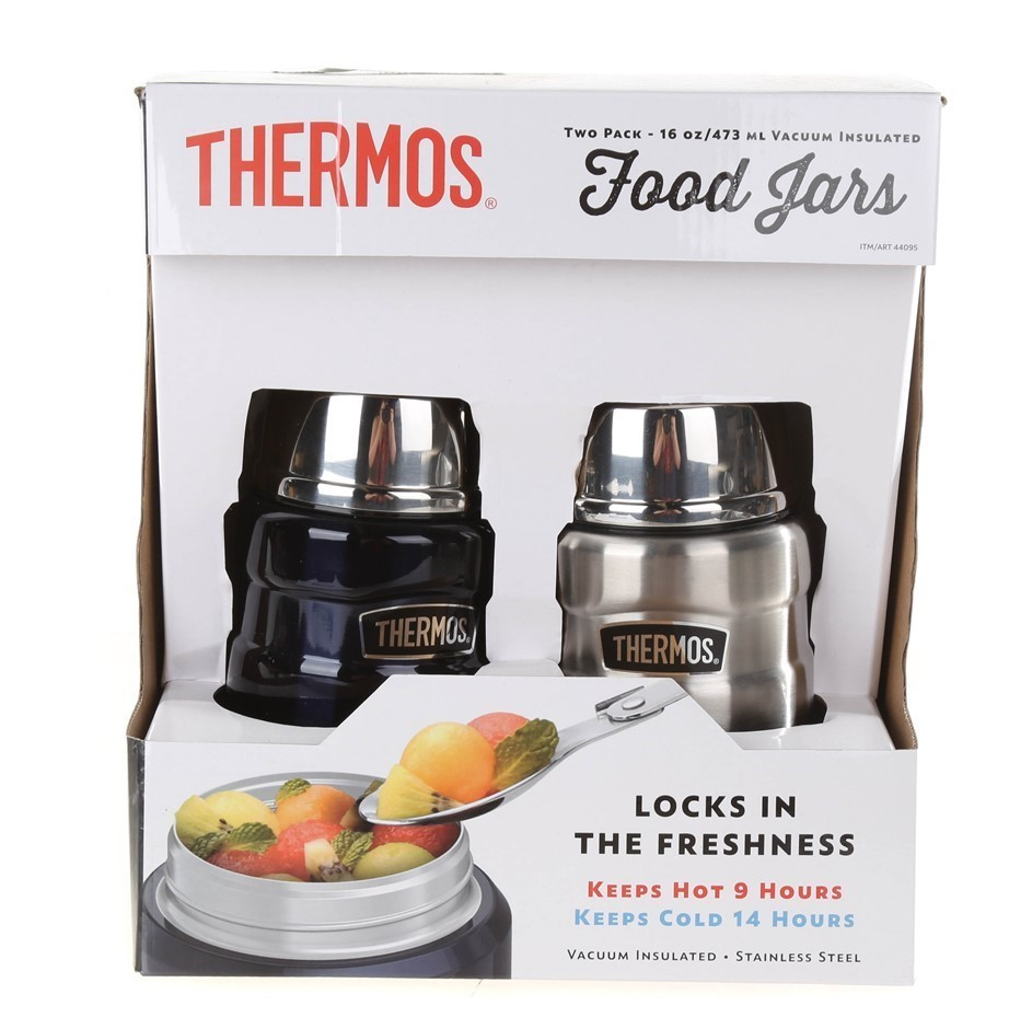 THERMOS 2pk Vacuum Insulated Food Jars with Spoons, 473mL, Midnight Blue &
