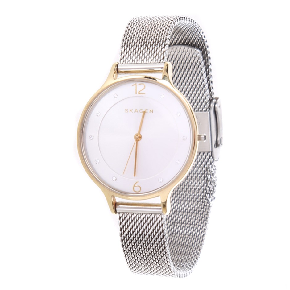 SKAGEN Women`s Anita Two-Tone 30mm Watch with 12mm Mesh Bracelet. Features: