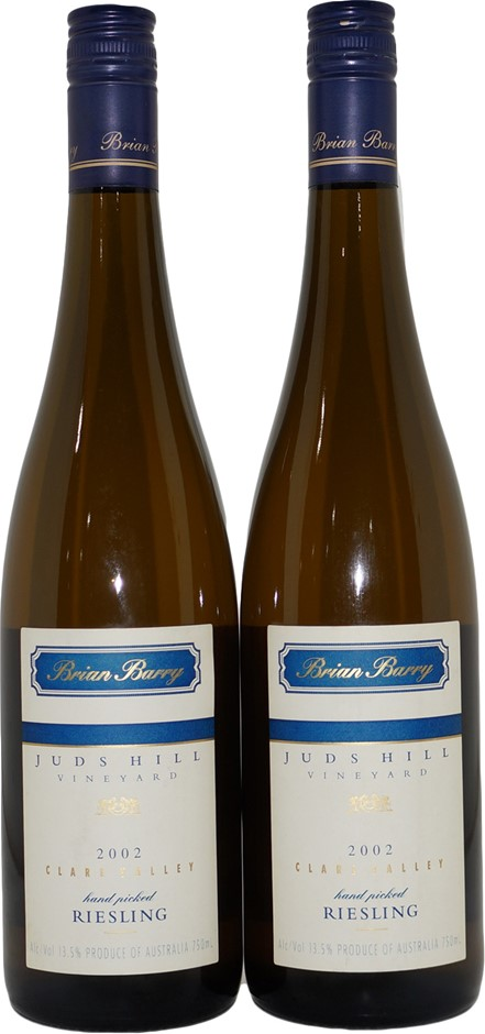 Brian Barry Juds Hill Clare Valley Riesling 2002 (2x 750mL), SA. Screwcap.