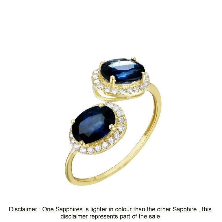 9ct Yellow Gold, 1.98ct Blue Sapphire and Diamond Ring