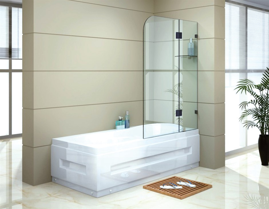 1200 x 1450mm Frameless Bath Panel 10mm Glass Shower Screen Della Francesca