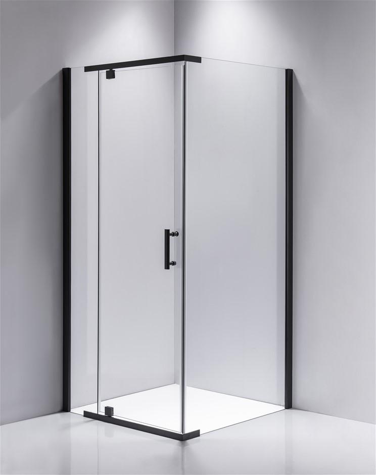 Shower Screen 900x700x1900mm Framed Safety Glass Pivot Door Della Francesca