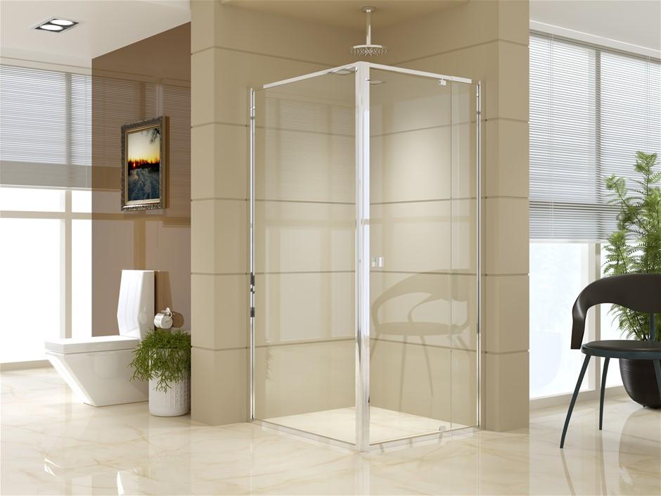Semi Frameless Shower Screen (82~90)x 195cm & (98~101)x 195cm Side